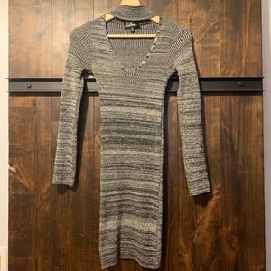 Grey knitted body-con dress